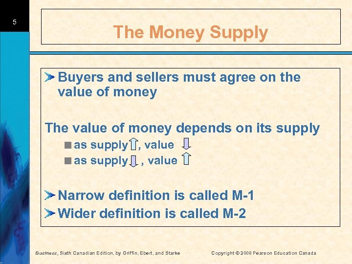 5 The Money Supply Buyers and sellers must agree on the value of money