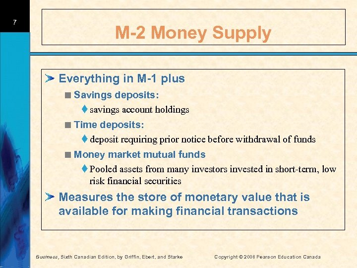 7 M-2 Money Supply Everything in M-1 plus < Savings deposits: t savings account