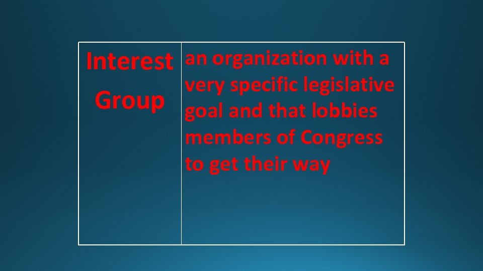 Interest an organization with a very specific legislative Group goal and that lobbies members