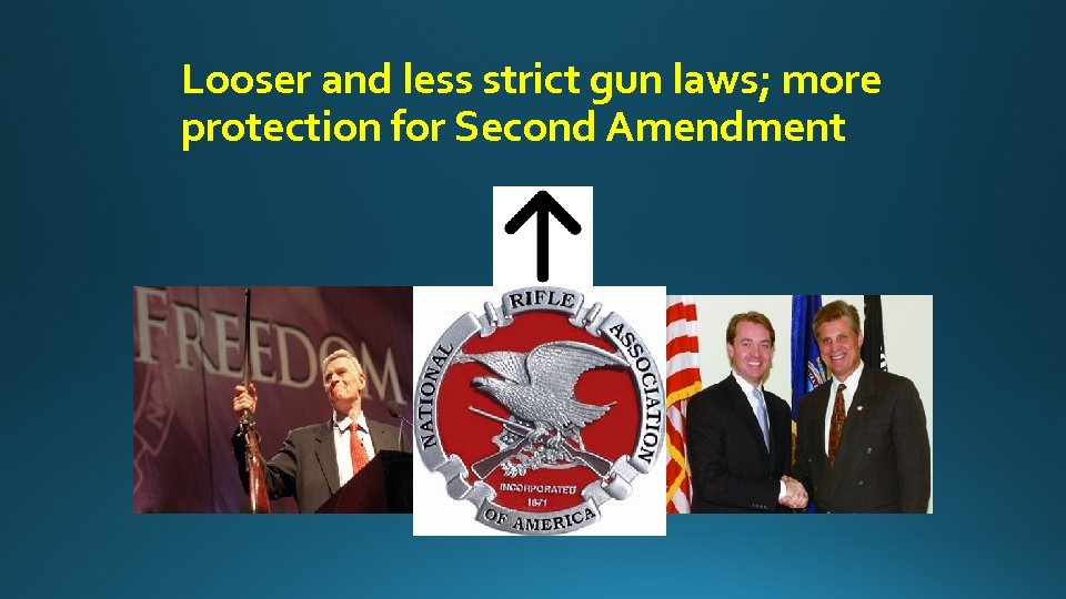 Looser and less strict gun laws; more protection for Second Amendment