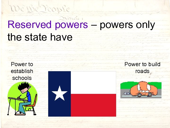 Reserved powers – powers only the state have Power to establish schools Power to