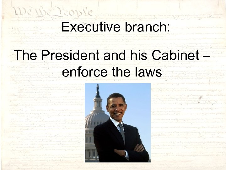 Executive branch: The President and his Cabinet – enforce the laws