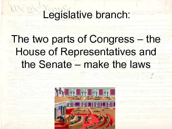 Legislative branch: The two parts of Congress – the House of Representatives and the