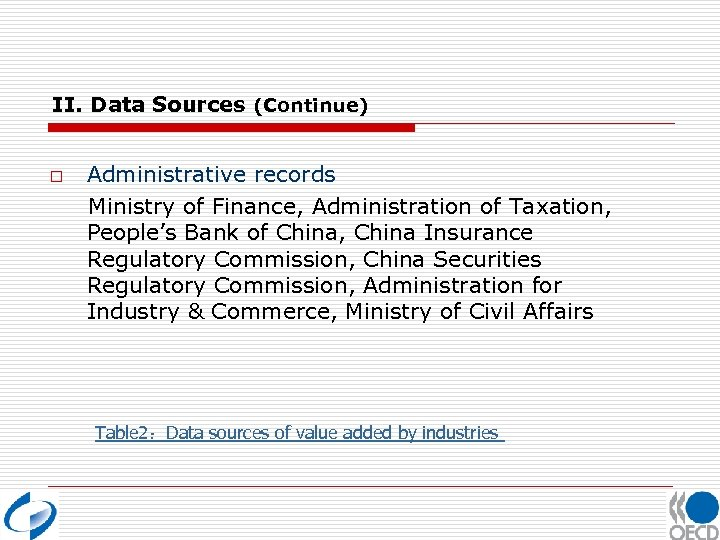 II. Data Sources (Continue) o Administrative records Ministry of Finance, Administration of Taxation, People's