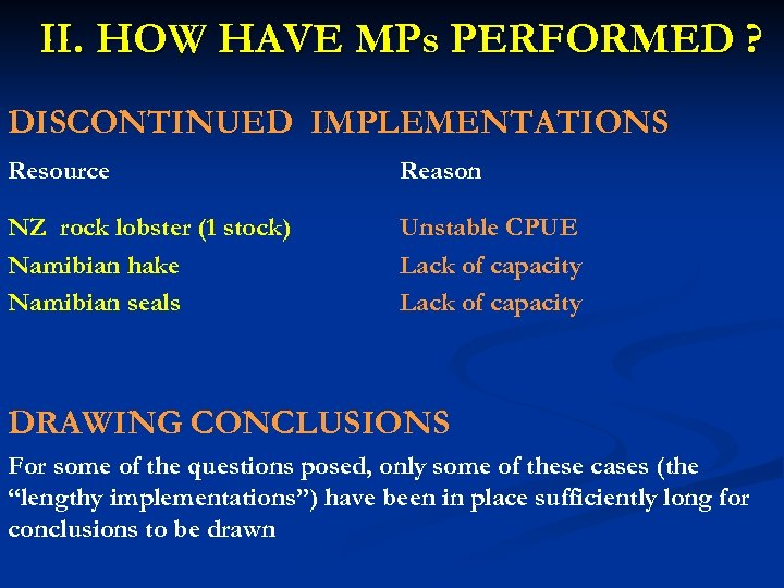 II. HOW HAVE MPs PERFORMED ? DISCONTINUED IMPLEMENTATIONS Resource Reason NZ rock lobster (1