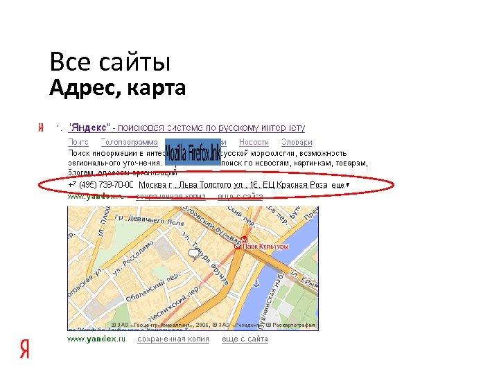 Все сайты Адрес, карта