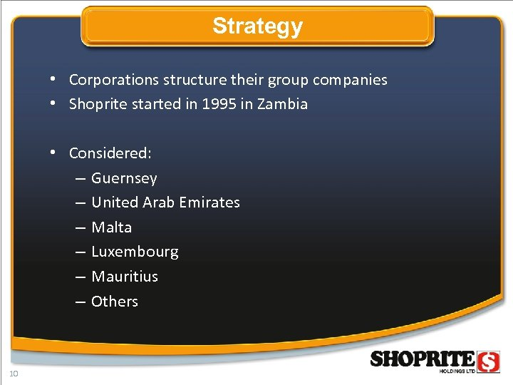 Strategy • Corporations structure their group companies • Shoprite started in 1995 in Zambia