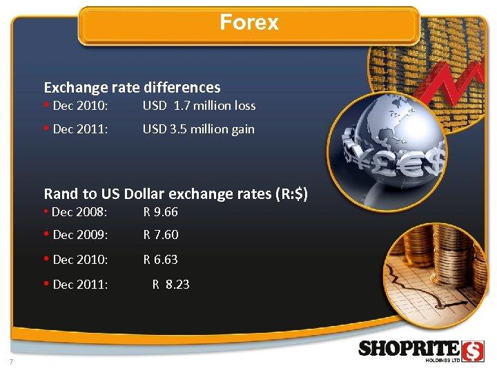 Forex Exchange rate differences • Dec 2010: • Dec 2011: USD 1. 7 million