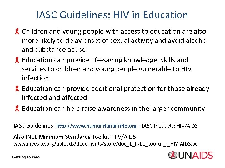 IASC Guidelines: HIV in Education - Children and young people with access to education