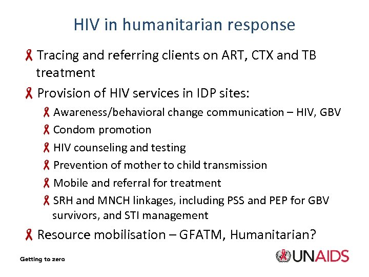 HIV in humanitarian response -Tracing and referring clients on ART, CTX and TB treatment