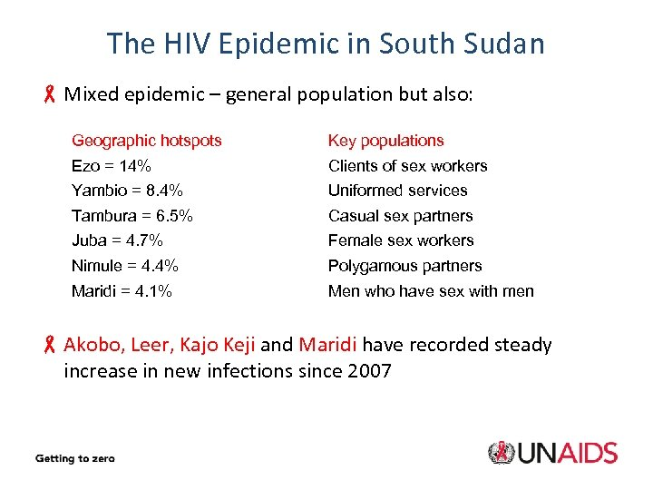 The HIV Epidemic in South Sudan - Mixed epidemic – general population but also: