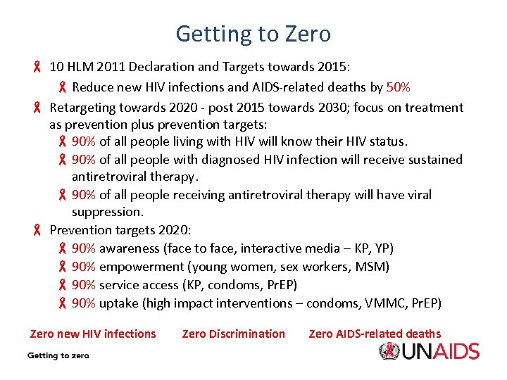 Getting to Zero - 10 HLM 2011 Declaration and Targets towards 2015: - Reduce