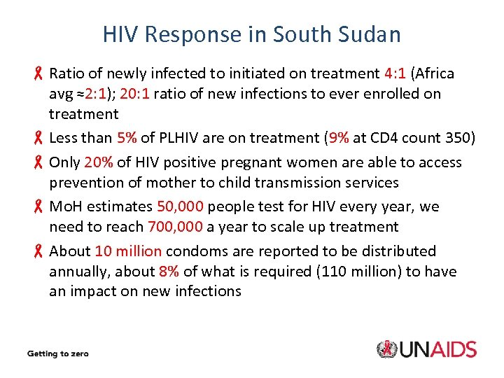 HIV Response in South Sudan - Ratio of newly infected to initiated on treatment