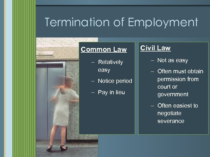 Termination of Employment Common Law – Relatively easy – Notice period – Pay in