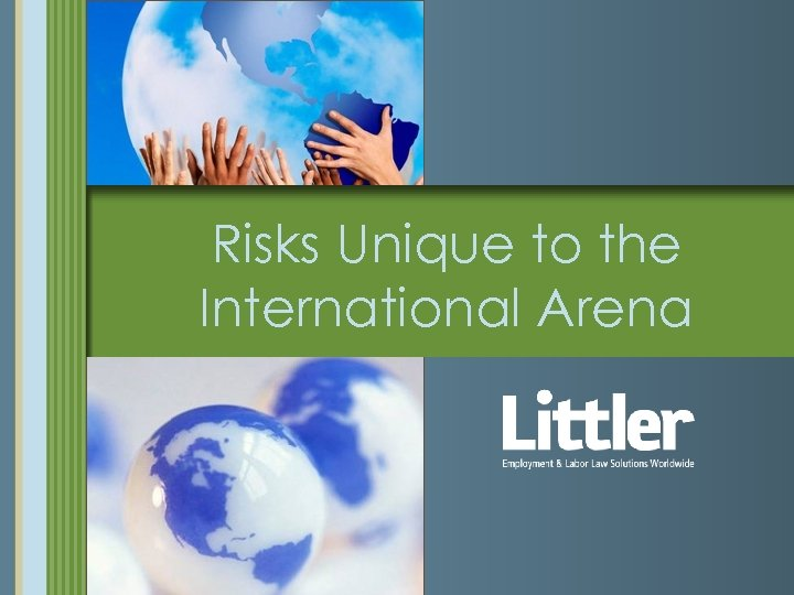 Risks Unique to the International Arena