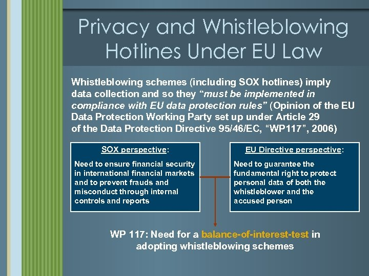 Privacy and Whistleblowing Hotlines Under EU Law Whistleblowing schemes (including SOX hotlines) imply data