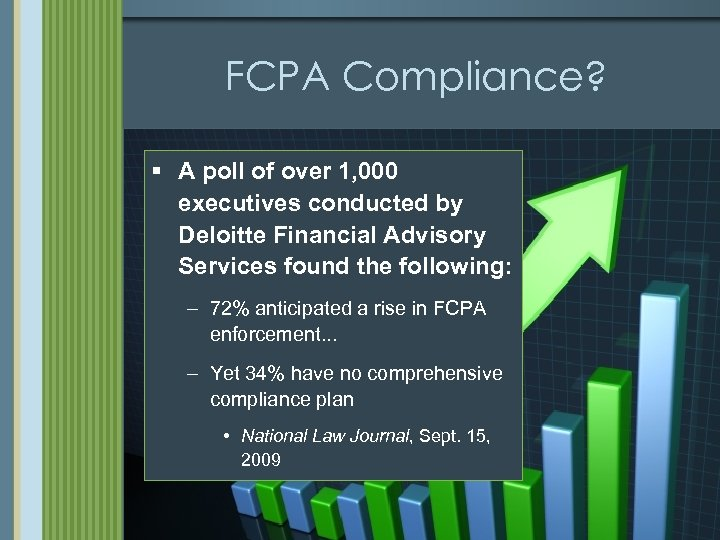 FCPA Compliance? § A poll of over 1, 000 executives conducted by Deloitte Financial