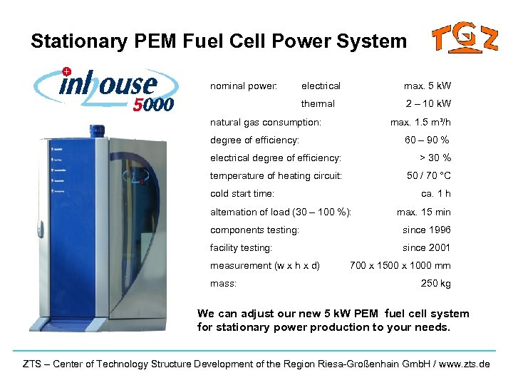 Stationary PEM Fuel Cell Power System nominal power: electrical max. 5 k. W thermal