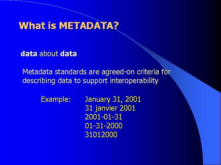 What is METADATA? data about data Metadata standards are agreed-on criteria for describing data