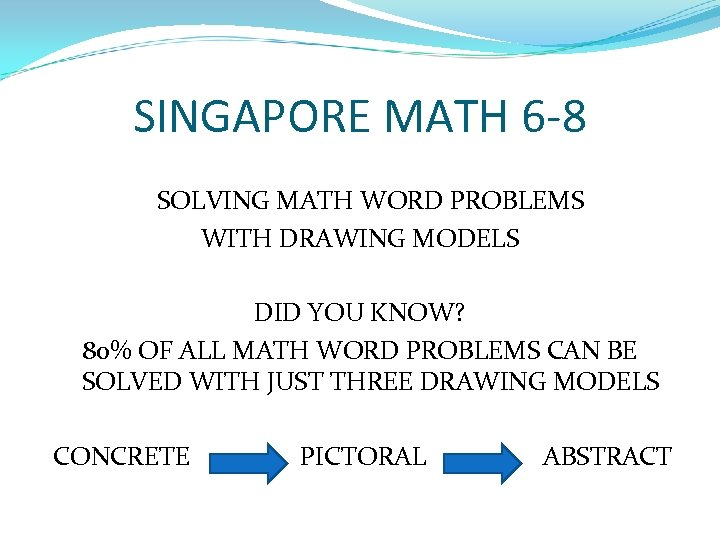 SINGAPORE MATH 6 -8 SOLVING MATH WORD PROBLEMS WITH DRAWING MODELS DID YOU KNOW?