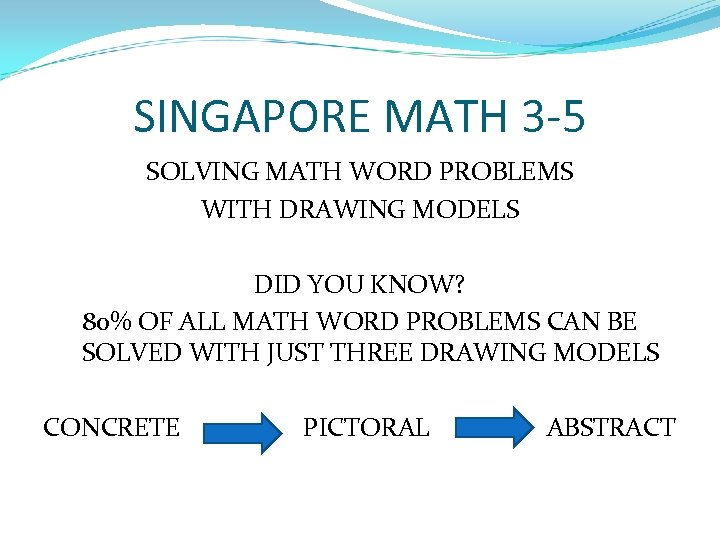 SINGAPORE MATH 3 -5 SOLVING MATH WORD PROBLEMS WITH DRAWING MODELS DID YOU KNOW?
