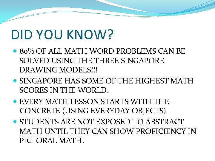 DID YOU KNOW? 80% OF ALL MATH WORD PROBLEMS CAN BE SOLVED USING THE