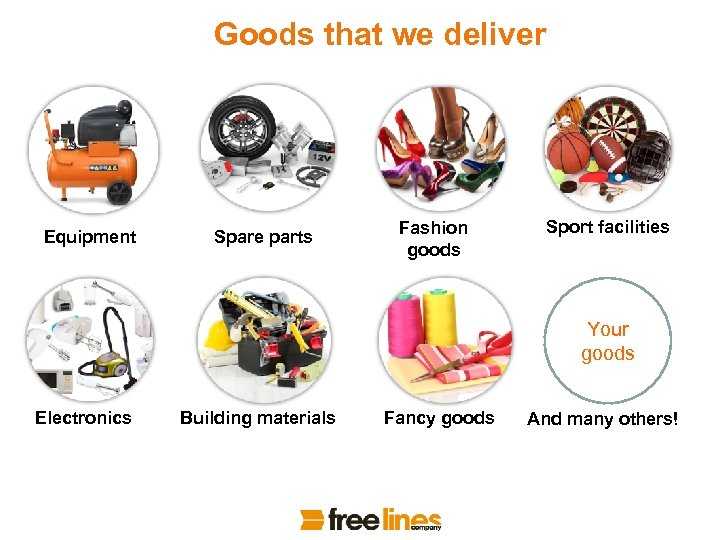 Goods that we deliver Equipment Spare parts Fashion goods Sport facilities Your goods Electronics