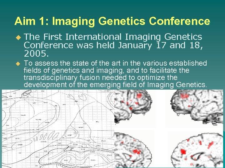 Aim 1: Imaging Genetics Conference u u The First International Imaging Genetics Conference was