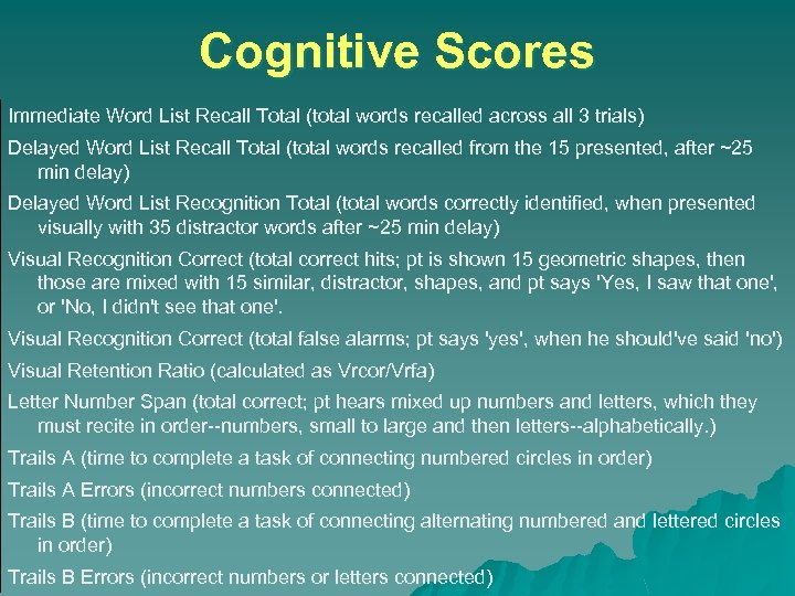 Cognitive Scores Immediate Word List Recall Total (total words recalled across all 3 trials)