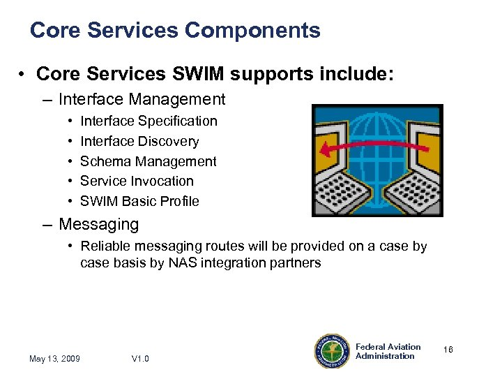 Core Services Components • Core Services SWIM supports include: – Interface Management • •