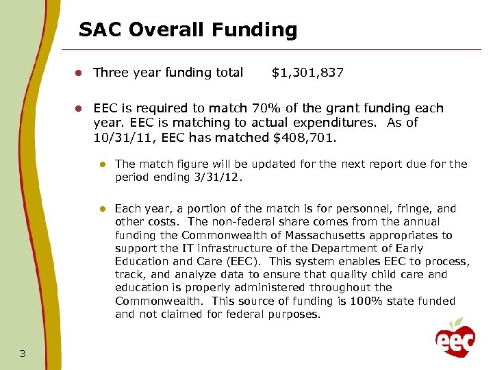 SAC Overall Funding l Three year funding total l EEC is required to match