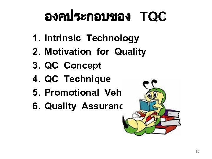 องคประกอบของ TQC 1. 2. 3. 4. 5. 6. Intrinsic Technology Motivation for Quality QC