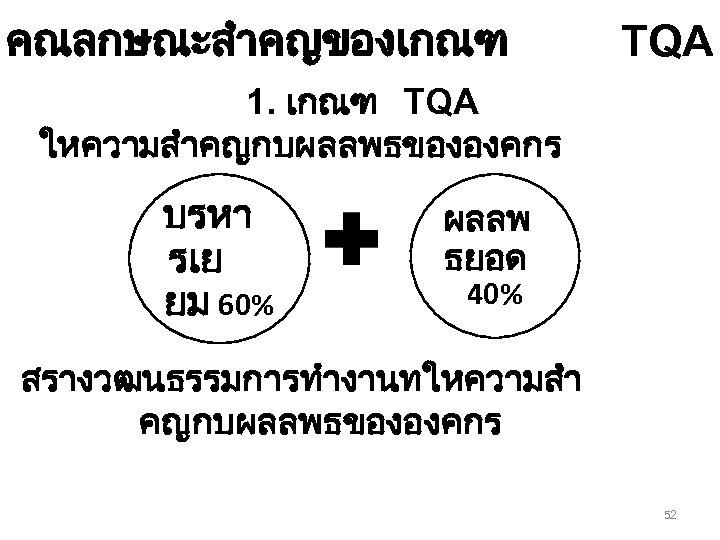 คณลกษณะสำคญของเกณฑ TQA 1. เกณฑ TQA ใหความสำคญกบผลลพธขององคกร บรหา รเย ยม 60% ผลลพ ธยอด 40% สรางวฒนธรรมการทำงานทใหความสำ