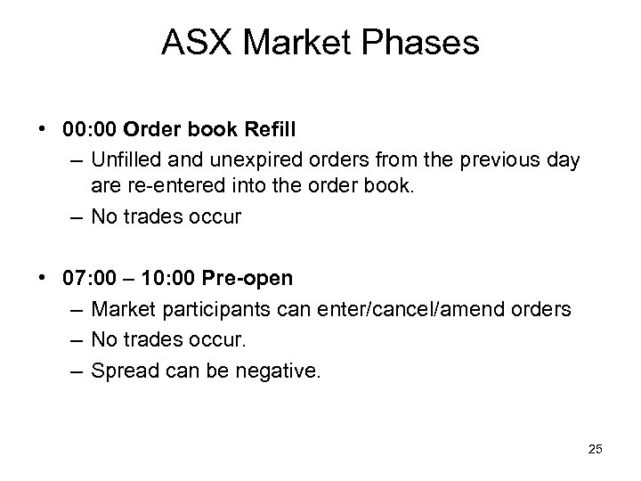 ASX Market Phases • 00: 00 Order book Refill – Unfilled and unexpired orders