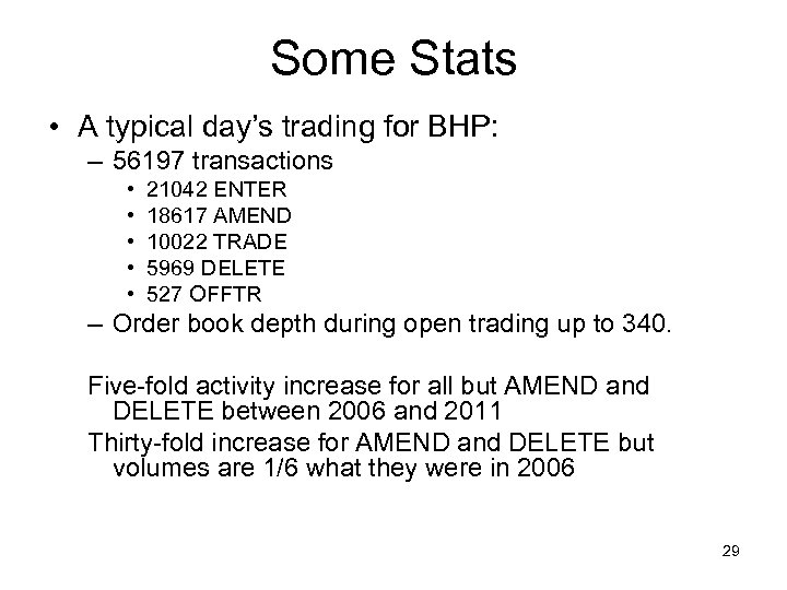 Some Stats • A typical day's trading for BHP: – 56197 transactions • •
