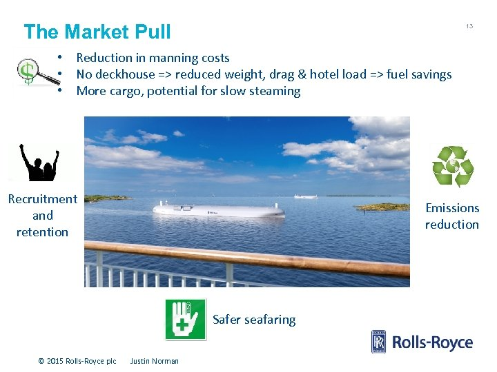 The Market Pull 13 • Reduction in manning costs • No deckhouse => reduced