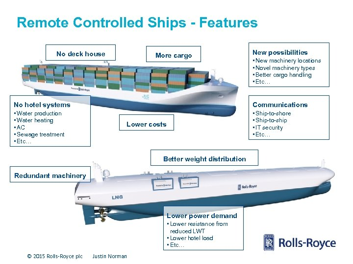 Remote Controlled Ships - Features No deck house More cargo New possibilities • New