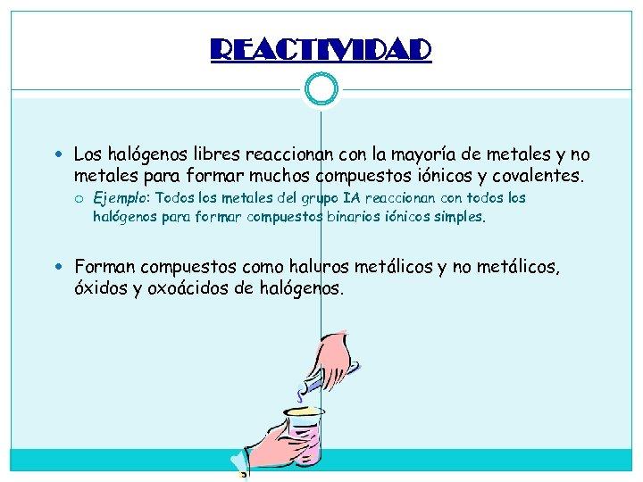 REACTIVIDAD Los halógenos libres reaccionan con la mayoría de metales y no metales para