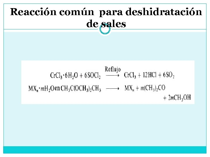 Reacción común para deshidratación de sales