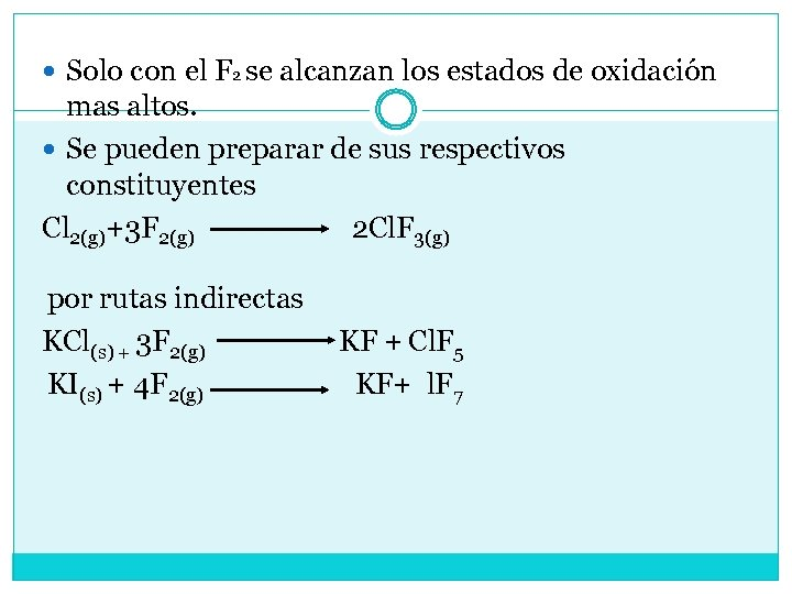 Solo con el F 2 se alcanzan los estados de oxidación mas altos.