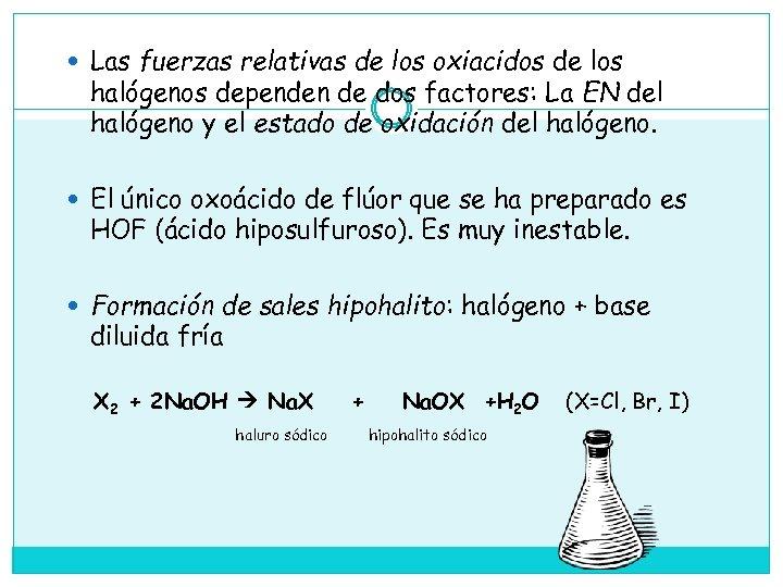 Las fuerzas relativas de los oxiacidos de los halógenos dependen de dos factores: