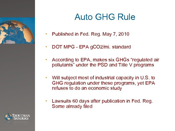 Auto GHG Rule • Published in Fed. Reg. May 7, 2010 • DOT MPG