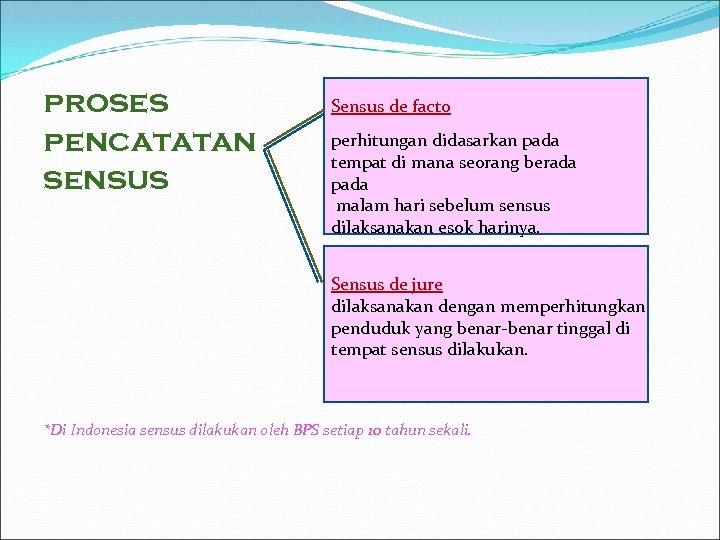 proses pencatatan sensus Sensus de facto perhitungan didasarkan pada tempat di mana seorang berada