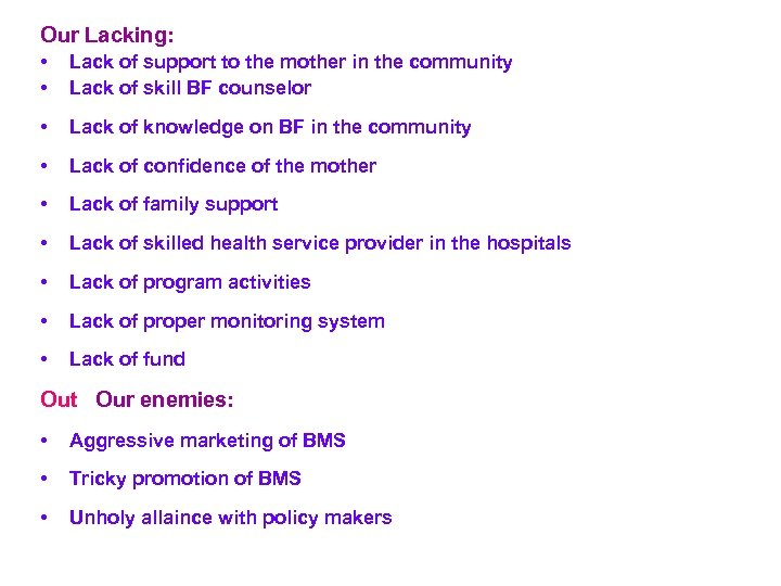 Our Lacking: • • Lack of support to the mother in the community Lack