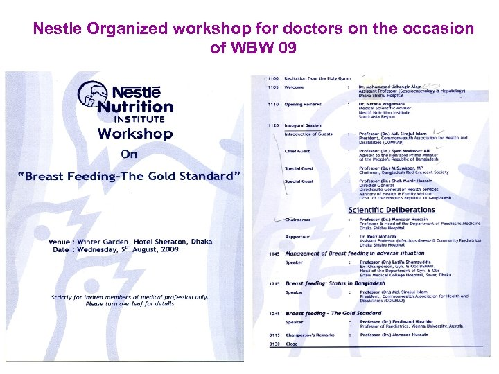 Nestle Organized workshop for doctors on the occasion of WBW 09