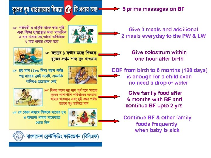 5 prime messages on BF Give 3 meals and additional 2 meals everyday to