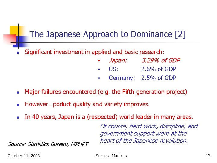 The Japanese Approach to Dominance [2] n Significant investment in applied and basic •