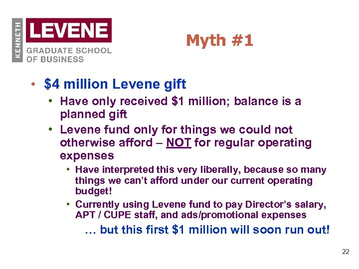 Myth #1 • $4 million Levene gift • Have only received $1 million; balance