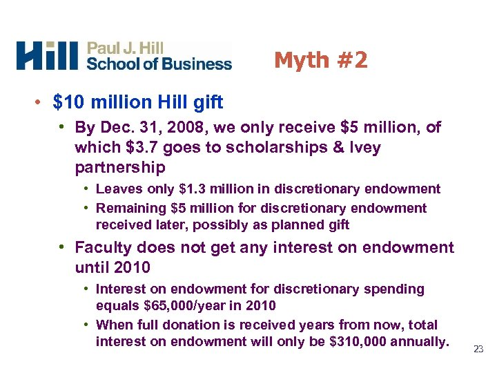 Myth #2 • $10 million Hill gift • By Dec. 31, 2008, we only