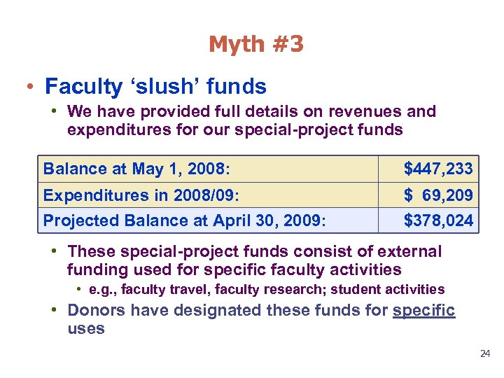 Myth #3 • Faculty 'slush' funds • We have provided full details on revenues